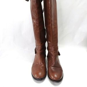 Guess Solar Leather Boots Tall Fold Over Riding